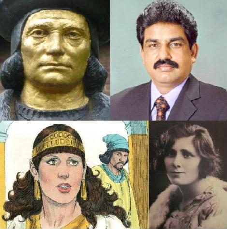 Top: St Thomas More, Shahbaz Bhatti; Bottom: Esther; Venerable Margaret Sinclair