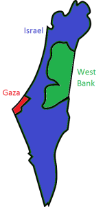 Map showing the modern State of Israel and Palestinian Territories
