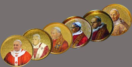 Medallions of Popes John 23 thru Francis from the Basilica of St Paul's Outside the Walls