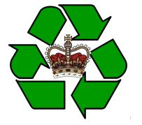 St Edward's Crown surrounded by a green recycling logo