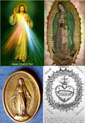 Divine Mercy, Tilma of Guadalupe, Miraculous Medal and Sacred Heart