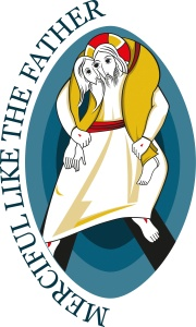 This is the logo for the Holy Year of Mercy, which opens Dec. 8 and runs until Nov. 20, 2016. (CNS/courtesy of Pontifical Council for Promoting New Evangelization) Christ carries a sinner over his shoulders as a shepherd would carry a sheep.