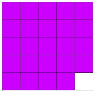25 squares in a grid, all but one are purple