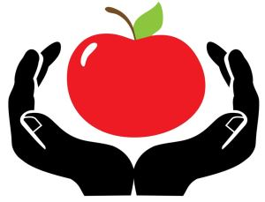 a red apple clasped by open hands